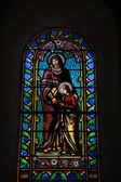 Stained glass window, church in Lacoste — Stock Photo