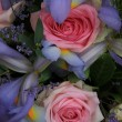 Blue irises and pink roses in bridal arrangement — Stockfoto