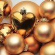 Christmas ornaments: 50 shades of gold — Stock fotografie