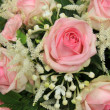 Pink roses and stephanotis in bridal bouquet — Lizenzfreies Foto