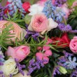 Wedding arrangement in blue and pink — Stock Photo