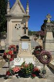 Ornamentos graves em um antigo cemitério francês — Fotografia Stock
