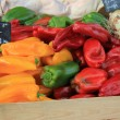 Peppers at a market — Stock Photo
