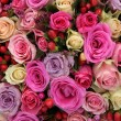 Pink and purple roses in a wedding centerpiece — Stock Photo