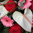Stock Photo: Anthurium, roses and gerberas in a bridal arrangement