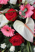 Anthurium, roses and gerberas in a bridal arrangement — Stock Photo