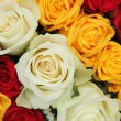 Yellow, white and red roses in a wedding arrangement — Stok fotoğraf