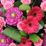 Pink and purple wedding decorations — Stock Photo