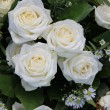 Stock Photo: White roses wedding arrangement