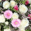 Stock Photo: Pink gerberas and white roses in bridal arrangement