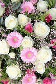 Pink gerberas and white roses in bridal arrangement — Stock Photo