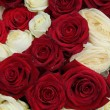 Wedding centerpiece in red and white — Stock Photo