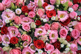 Red, pink and white wedding arrangement — Stock Photo