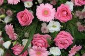 Gerbera ve gül, pembe gelin çiçekleri — Stok fotoğraf