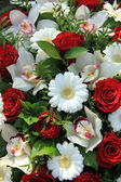 Cymbidium orchids, red roses and white gerberas — Stock Photo