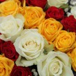 Yellow, white and red roses in a wedding arrangement — Stock Photo #44565851