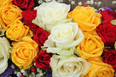 Yellow, white and red roses in a wedding arrangement — Stock Photo