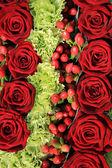 Red rose wedding arrangement — Stock Photo