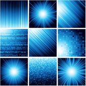 Collection of abstract backgrounds in blue color. Vector. — Stock Vector