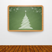 Green Chalkboard with christmas tree — Stock Vector