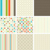 Seamless retro patterns collection — Stock Vector