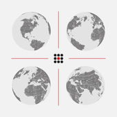 Set of dotted world maps in different resolution — Stock Vector