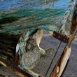 Abandoned wooden hull boat — Stock Photo