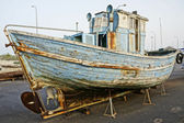 Historical spanish decoration wooden boat — Stock Photo