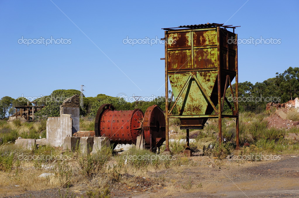 Area mining. Abandoned mine former mining installations in Spain  — Stock Photo #12383500