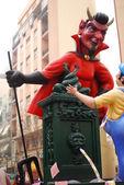 Red devil, evil, handmade statue cartoon. Valencia fallas festival. — Stock Photo