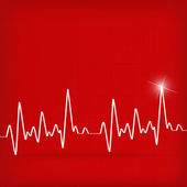 White Heart Beats Cardiogram on Red background — Stock Vector