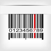 Barcode image with red strip — 图库矢量图片