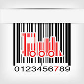Barcode image with red strip — Vecteur