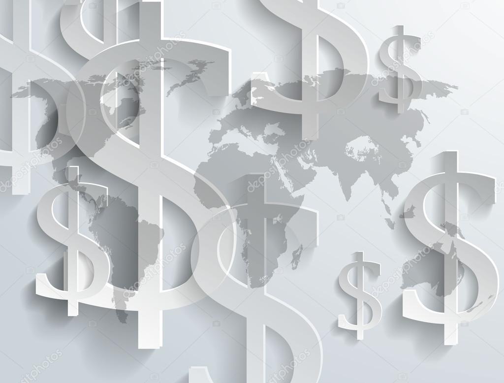 美元符号在世界地图上的背景