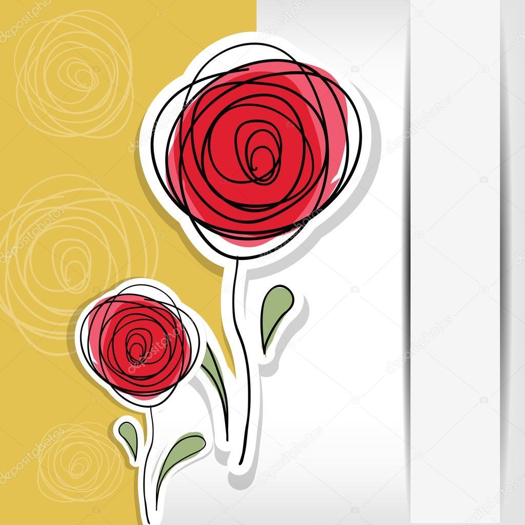 与抽象玫瑰花卉背景