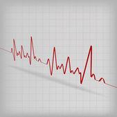 白地に赤い心拍心電図 — ストックベクタ
