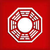 Chinese Bagua symbol on red — Stock Vector