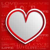 Coração branco em fundo vermelho — Vetorial Stock