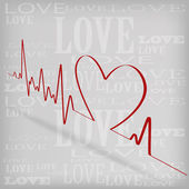 Red Heart Beats Cardiogram on White background — Stock Vector