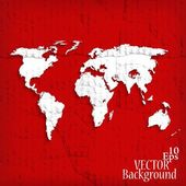 Abstract background with world map on red - vector illustration — Stock Vector