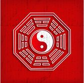 Chinese Bagua symbol on red - vector illustration — Stock Vector