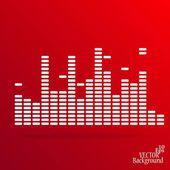 White digital equalizer background on red - vector illustration — Stock Vector