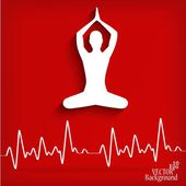 Silhouette yoga poses on a red background with cardiogram - vector illustration — Stock Vector