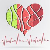 Abstract background with color strip heart - vector illustration — Vetorial Stock