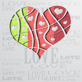 Abstract background with color strip heart - vector illustration — Stock Vector