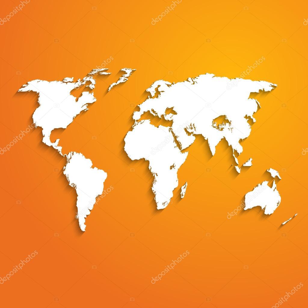 与世界上橙色-矢量插图地图抽象背景