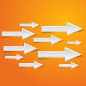 White arrow on orange background - vector illustration — Stock Vector