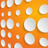 Círculos blancos sobre fondo naranja - ilustración vectorial — Vector de stock