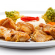 Fried chicken nuggets, white rice and vegetables — Stock Photo