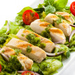 Vegetable salad with roasted chicken meat — Stock Photo